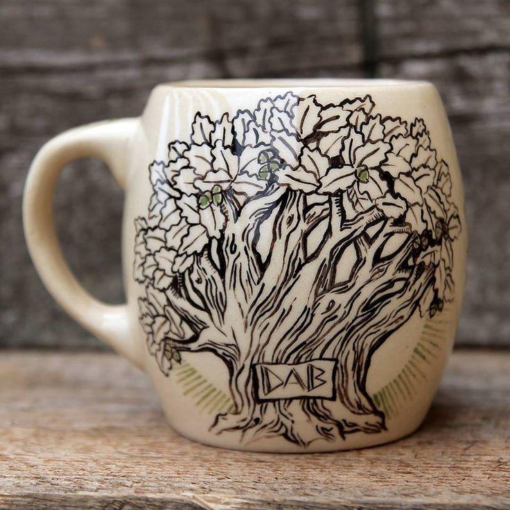 """""""Oak"""" hand-painted ceramic mug. """"Dąb"""" ręcznie malowany. ceramiczny kubek. poj.400ml by Benusha - ceramika"""