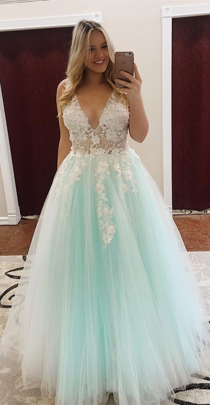 1fac2a8fbe Turquoise Lace Applique Ball Gown Long Ball Gowns Quinceanera Dress ...