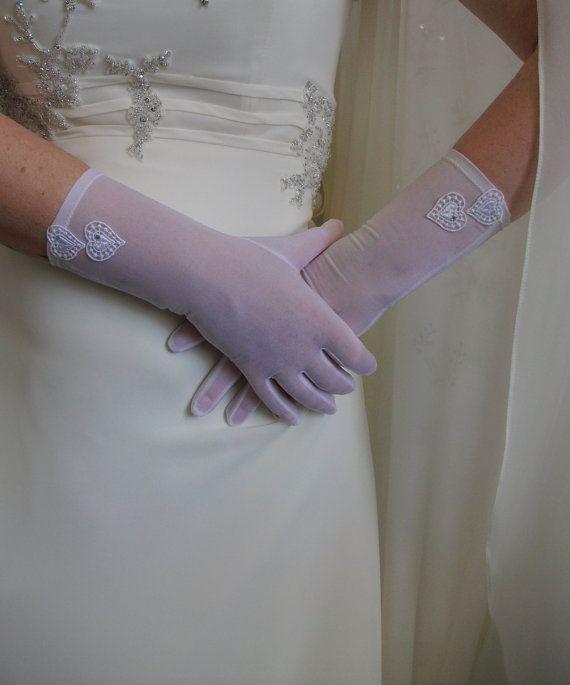 Pink organza gloves until the wrist Wedding by DesignByIrenne