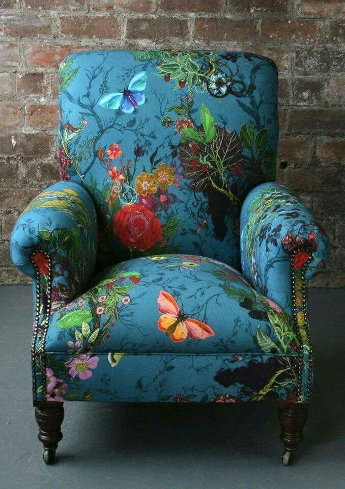 """Bloomsbury Garden"" Teal fabric from Timorous Beasties. ~ I lust for this chair.♡"