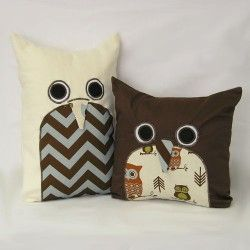 """Novelty owl pillows are functional and decorative. Available in 2 sizes: Little Hoot Pillow is 13"""" x 13"""" in brown twill with removable sham. Machine wash and dry.Sweet Kyla - Hooty - Little Hoot Pillow"""