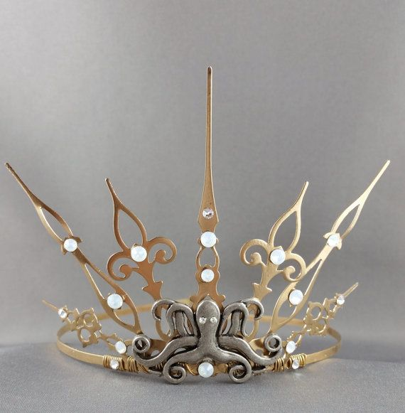 Steampunk Ursula Gothique  GoldTiara Gold Crown by angelyques