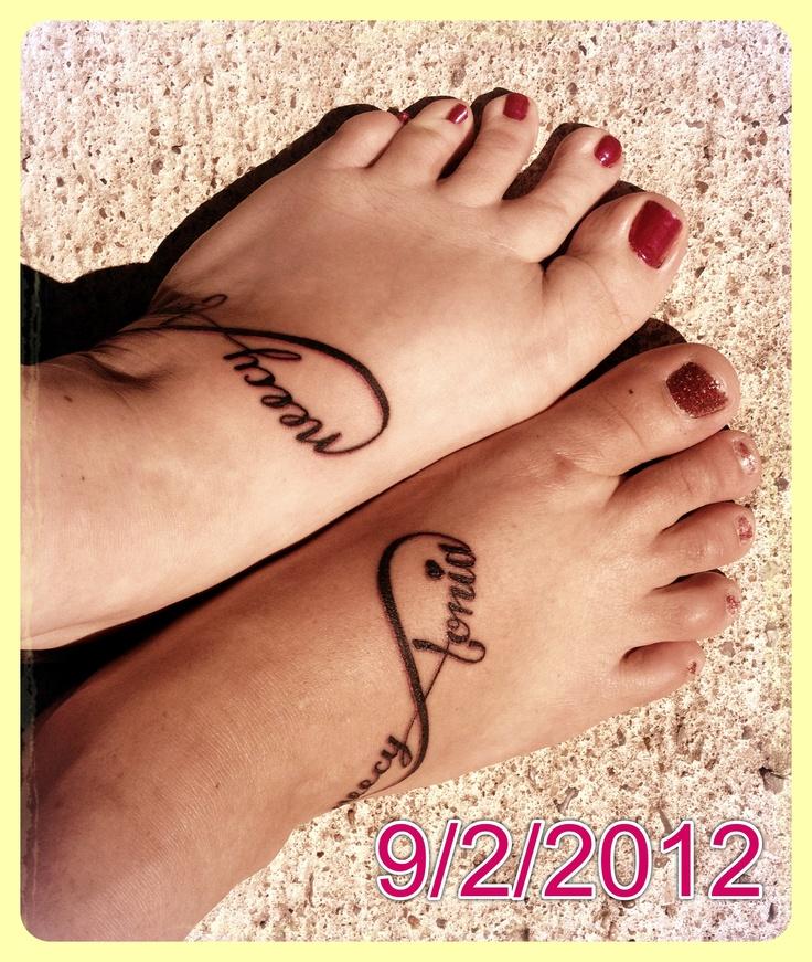 Matching infinity friendship tattoos