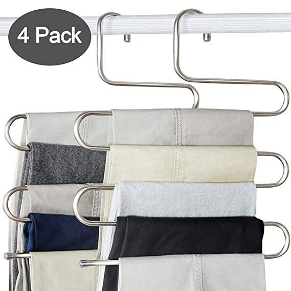 Ds Pants Hangers S Shape Trousers Hangers Stainless Steel Clothes Hangers Closet Space Saving Organizer For Pan Trouser Hangers Space Saving Hangers Pants Rack