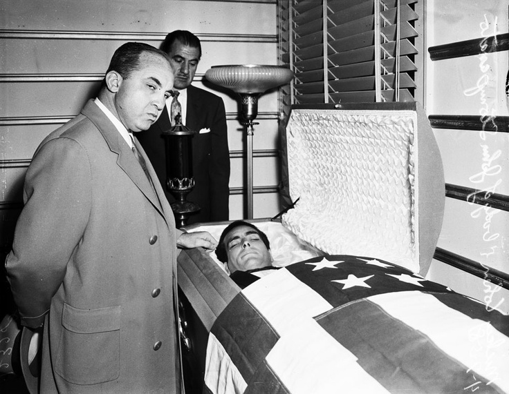 On April 4th, 1958 Johnny Stompanato was stabbed to death in Lana Turner's Beverly Hills Home (730 N. Bedford Drive).   The assailant was Turner's teenage daughter Cheryl Crane.    Gangster Mickey Cohen paying his last respects.