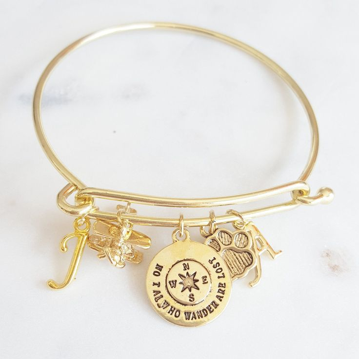 Personalize our gold Wanderlust bracelet for your loved one! It makes a sweet gift for your favourite flight attendant.