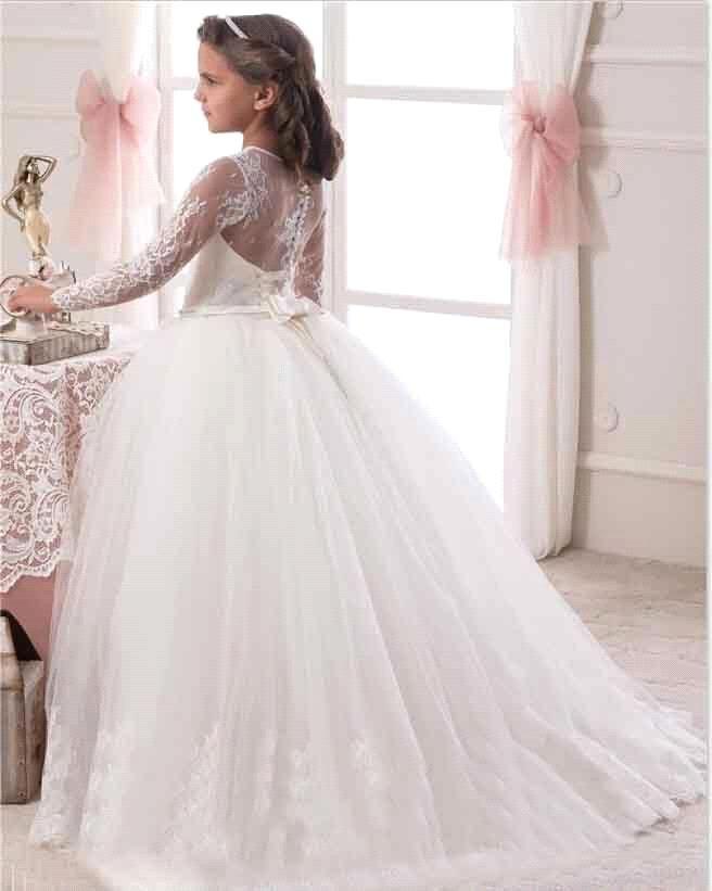 Nueva moda blanco marfil balón vestido de manga larga de flores las niñas vestidos para bodas encaje vestido de primera comunión vestidos del desfile