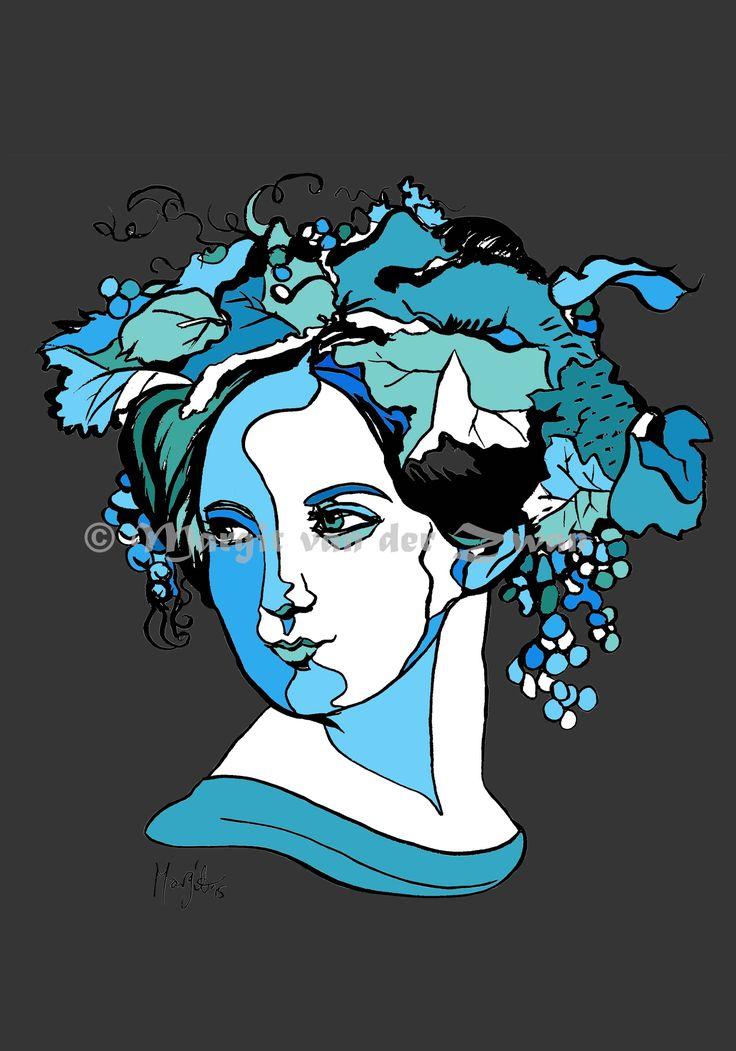 Fanny Mendelssohn Art deco style artwork by Margit van der Zwan. Women in Music