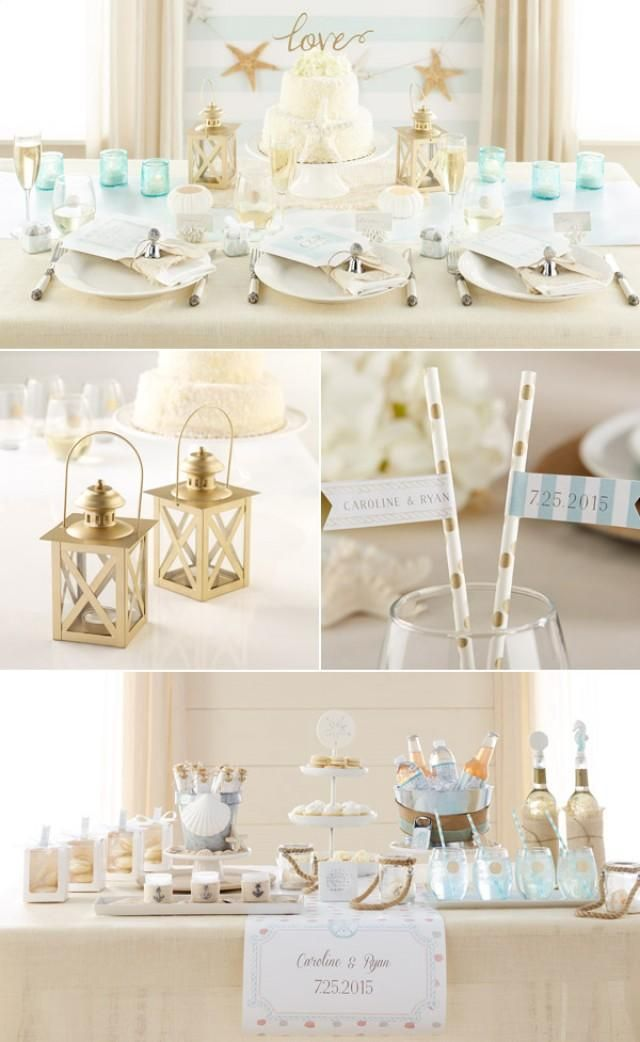 "Coastal Beach Theme Wedding Favor, Bridal Shower Favor Ideas  Love Cake Topper   Classic Gold Lantern  ""Vintage"" Blue Glass Tealight Holder  ""Message in a Bottle"" Glass Favor"