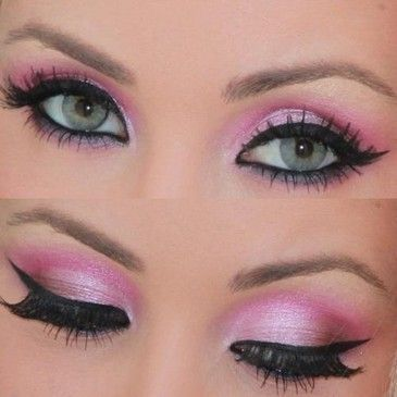 #pink smokey eye make up cat eye