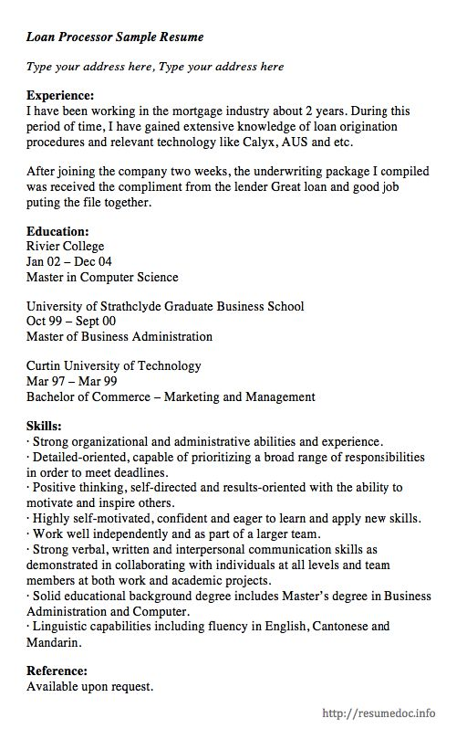 1902 best FREE RESUME SAMPLE images on Pinterest Cover letters - mortgage loan processor resume