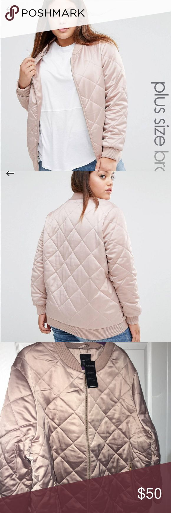 Pink Rosegold bomber Brand new with tags beautiful blush satin bomber never been worn it is a size 24 U.S. And 28 U.K. It's more of a rose gold color. Fit is between 22/24 newlook/Asos ASOS Curve Jackets & Coats Puffers