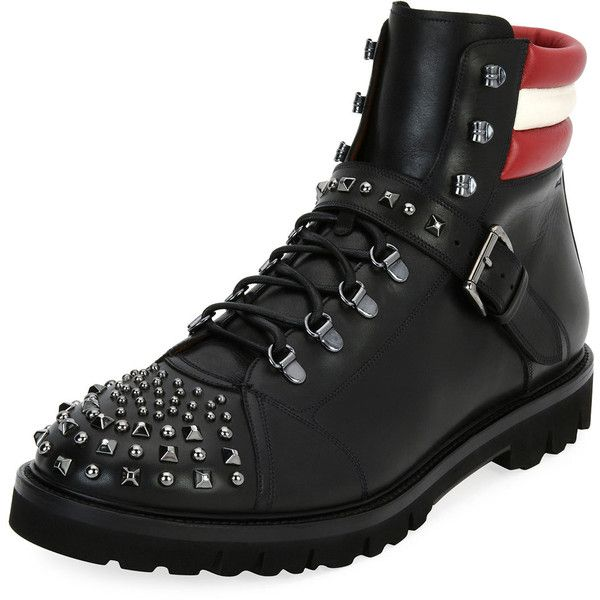 Bally Champions Studded Leather Hiking Boot (4 105 PLN) ❤ liked on Polyvore featuring men's fashion, men's shoes, men's boots, black, mens black studded shoes, mens black shoes, mens black buckle shoes, mens lace up shoes and mens black hiking boots