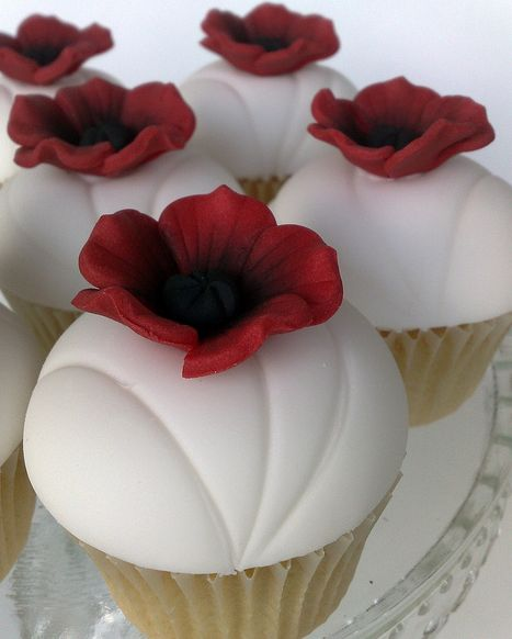 Remembrance Day -  Red poppy cupcake