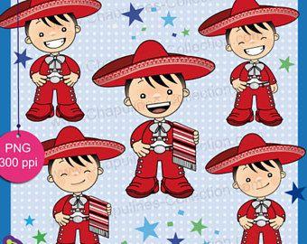 60% desc. Clipart de niños con traje de charro rojo y plateado, traje típico, Independencia, Revolución Mexicana, 5 de Mayo Set 132