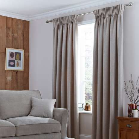 Harris Natural Thermal Pencil Pleat Curtains | Dunelm