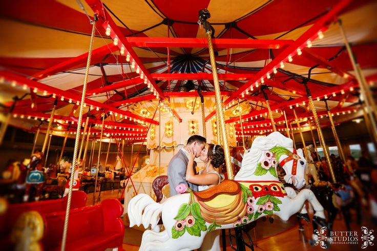 Bride and Groom portrait photo. Vintage Carousel. Burnaby Village Museum, BC. Vancouver Wedding Photographers http://www.butterstudios.ca