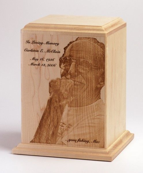 Photo Cremation Urns | Photo Engraved Cremation Urn. Maple wood urn with your favorite portrait photo engraved in fine detail.