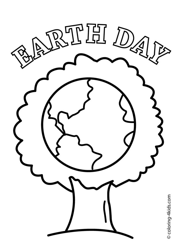 Earth Day Tree Coloring Pages For Kids Printable Free