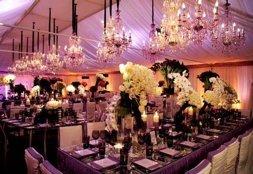 purple wedding reception table-scapes