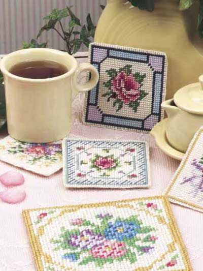 Free Victorian Treasures Plastic Canvas Pattern -- Download this free plastic canvas coaster pattern from FreePatterns.com.
