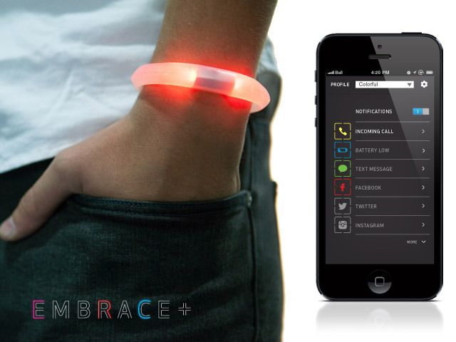 Embrace - What it does is it simply diverts the phone's message alert system from the smartphone to the wrist band. So whether your in a meeting or having a shower, when a call, tweet or post comes in, your wrist band will activate a tactile as well as visual alert in the band to grab your attention. Oh, and by the way, it is waterproof.
