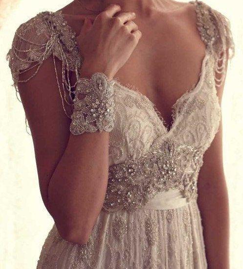 Playa de vintage de encaje vestido de novia por DressKimbelina