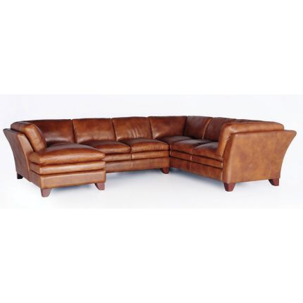 Rc Willey Camel Leather 3 Piece Sectional Sofas And