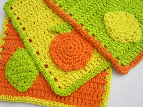Citrus Crochet Dish Cloth Set