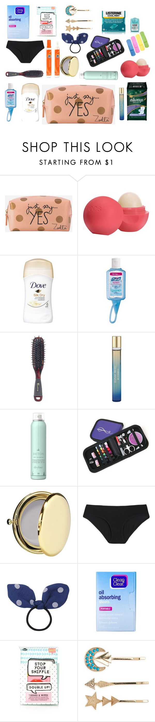 """Teen Emergency kit"" by explorer-14687837949 on Polyvore featuring Zoella Beauty, Eos, Kent, Hanae Mori, Drybar, Estée Lauder, Land of Women, Chicnova Fashion, Clean & Clear and Topshop"