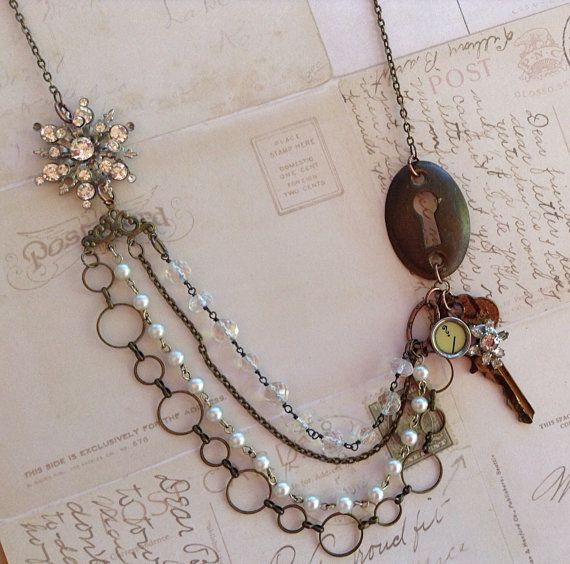 Found Object Jewelry, Upcycled Necklace, Assemblage Jewelry, Vintage Romance