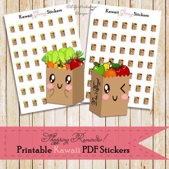 Cute kawaii printable stickers to remind your grocery shopping!  You can print them at home to sticker paper and make sweeter your weekly plans!  Item Description:  - 2 sheets (5''x7'') with 2 styles kawaii printable stickers - Sticker Dimensions: 0,50x0,35 inches 300DPI