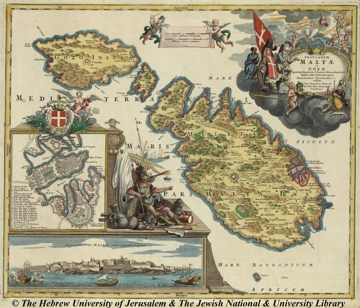 Old map of Malta and Gozo