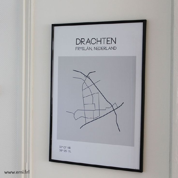 Drachten, minimalistische poster en ansichtkaart van plattegrond, stadsplattegrond