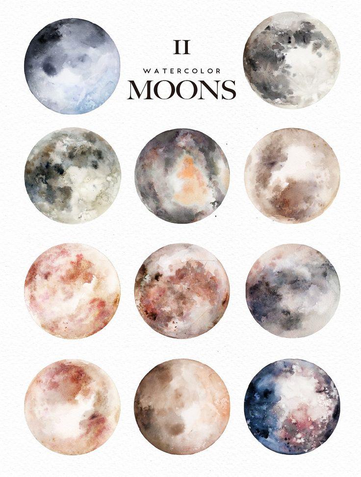 Watercolor Moons + Bonus - Illustrations - 2