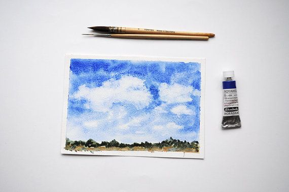 The Far Away Village Watercolor Painting /  by SundayWatercolor