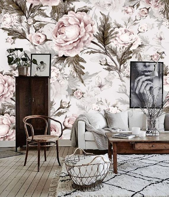 Remove Wall Paper Peel And Stick Wallpaper Floral Wall Mural Etsy Mural Wallpaper Patterned Paint Rollers Wallpaper