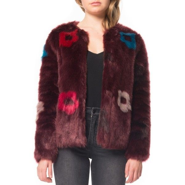 Women's Willow & Clay Flower Faux Fur Jacket (3.965 RUB) ❤ liked on Polyvore featuring outerwear, jackets, plum, short faux fur jacket, colorful faux fur jacket, flower jacket, multi-color leather jackets and multi coloured jacket