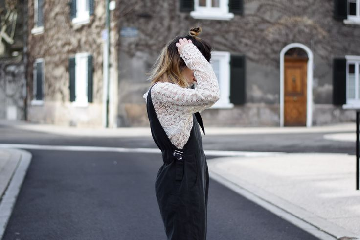 salopette overall asos dentelle pretty wire shop vans old skool perfecto zara