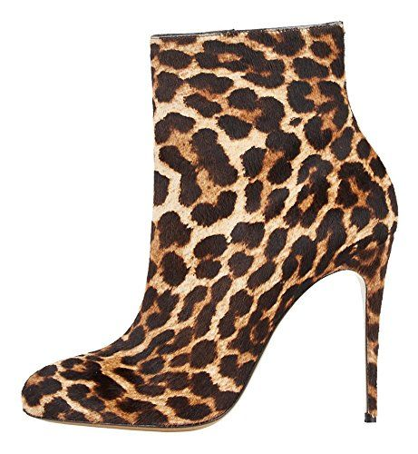 Guoar Women's Shoes High Heel Bootie Round Toe Zip Stiletto High-top Ankle Boots Leopard