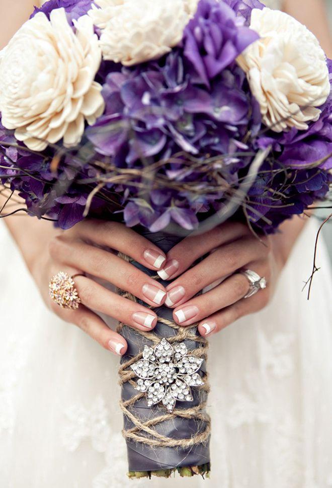 stunning antique purple hydrangea and ivory tapioca wood flower bouquet!  I love the rustic elegance  seen on fullcircleventi.com
