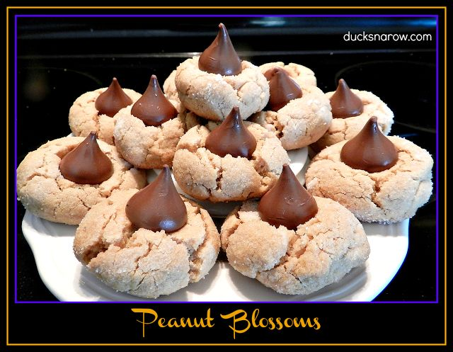 Peanut blossom cookies are peanut butter cookies with a Hershey's kiss on top!