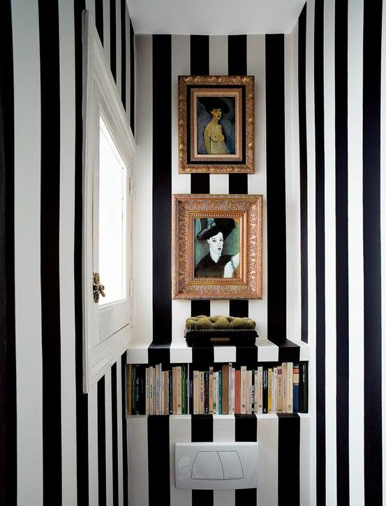 37 Inspirational Ideas To Design A Guest Toilet...do with grey stipes