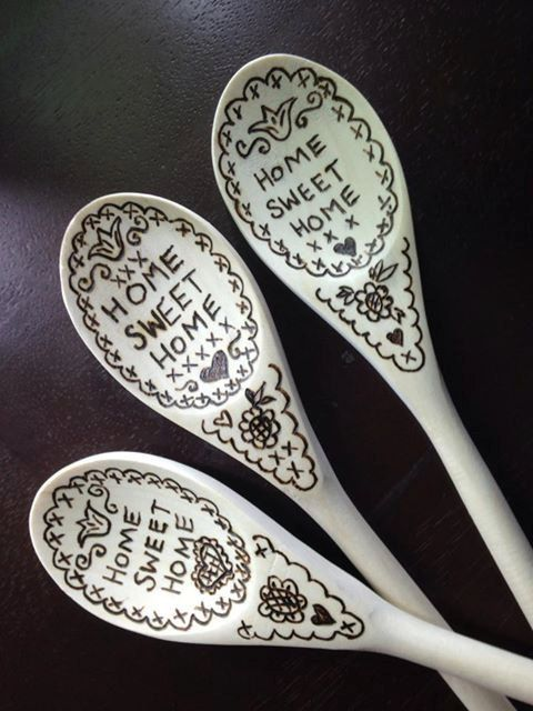 Wood burned Wooden Spoon HOME SWEET HOME Cross by Tigerlilystudio, $20.00