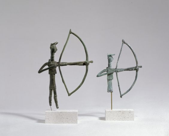 Sardinian bronze archers, 9th-7th century B.C. 17 cm and 12 cm high. George Ortiz collection