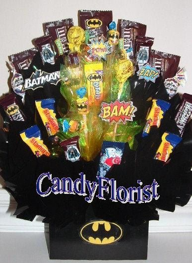BATMAN Candy Bouquet Centerpiece w/ Edible Party by CandyFlorist