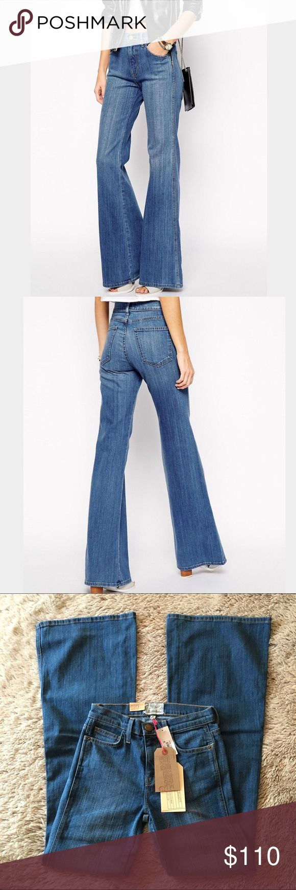 """NWT-Current/Elliott 'The Girl Crush' Flare Jeans New w tags! Current/Elliot 'the girl crush' flare/wide leg jeans in cruiser (color of the denim).  Size 24.  Inseam is 33.75"""".  5 pockets with a higher 9"""" rise. Super cute and right on trend!!Boho Chic!! Made in USA of Italian material. Current/Elliott Jeans Flare & Wide Leg"""
