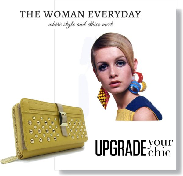 Twiggy Vegan Wallet - Mustard. Riveted feminine, edgy style.