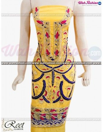 Give yourself a stylish & punjabi look with this Enthralling Yellow Heavy Embroidered Suit From Reet Glamour. Embellished with Embroidery work and lace work. Available with matching bottom & dupatta. It will make you noticable in special gathering. You can design this suit in any color combination or in any fabric. Just whatsapp us for more details. For more details whatsapp us: +919915178418