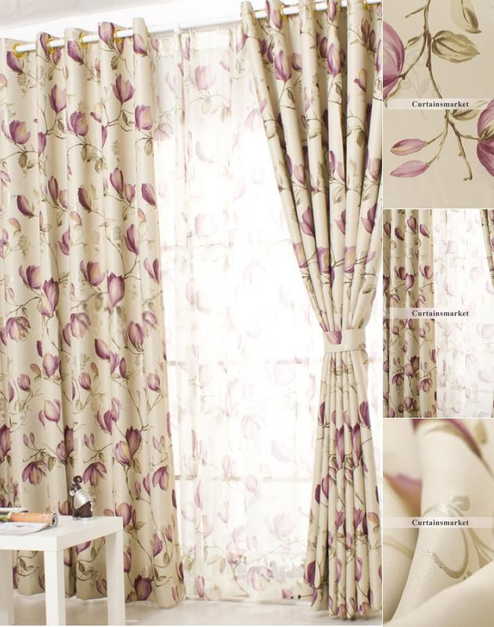 modern lounge curtains in casual design with floral style